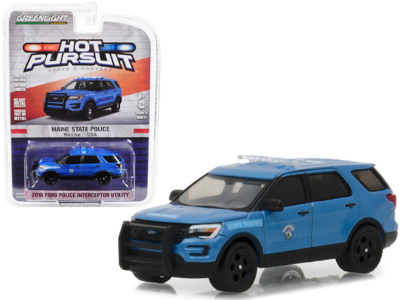 2016 Ford Police Interceptor Utility Maine State Police Hot Pursuit Series 27 1/64 Diecast Model Car Greenlight 42840 F