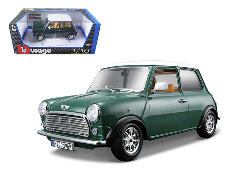 1969 Old Mini Cooper Green 1/18 Diecast Model Car Bburago 12036