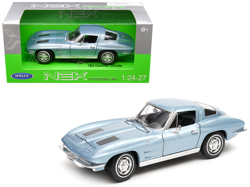 1963 Chevrolet Corvette Metallic Light Blue 1/24 1/27 Diecast Model Car Welly 24073
