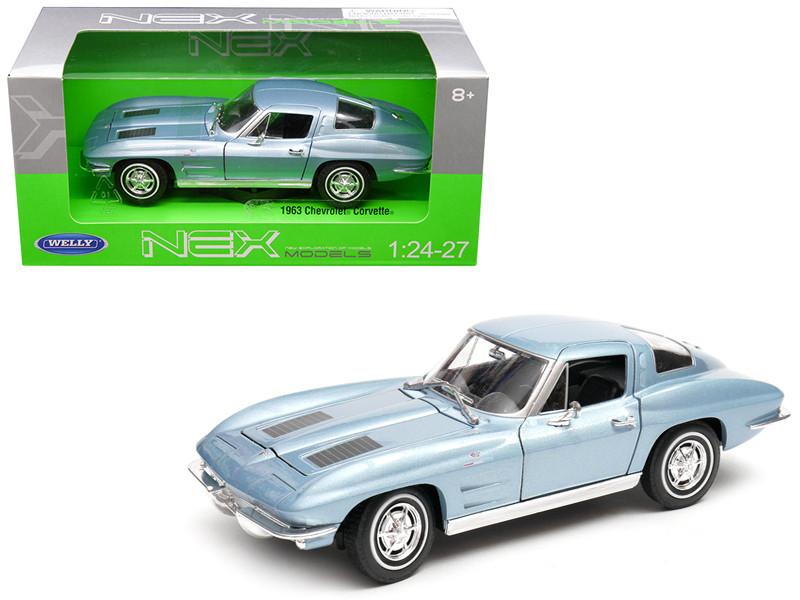 1963 Chevrolet Corvette Metallic Light Blue 1/24 1/27 Diecast Model Car Welly 24073