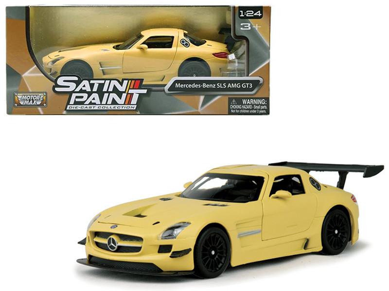 Mercedes Benz SLS AMG GT3 Matte Yellow 1/24 Diecast Car Model Motormax 79501