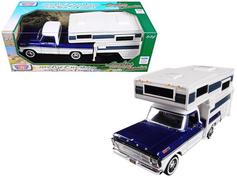 1969 Ford F-100 Pickup Truck Slide In Camper Blue White 1/24 Diecast Model Motormax 75335