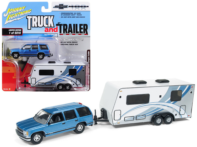 1997 Chevrolet Tahoe Blue Camper Trailer Limited Edition 6016 pieces Worldwide Truck and Trailer Series 2 Chevrolet Trucks 100th Anniversary 1/64 Diecast Model Car Johnny Lightning JLSP019
