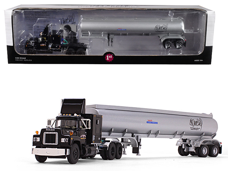 Mack R Model Black Sleeper Cab Silver 42 Tanker Trailer Convoy 1/64 Diecast Model First Gear 60-0378