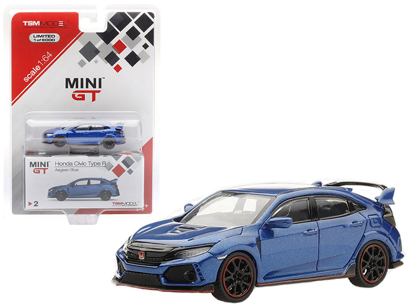 Honda Civic Type R Left Hand Drive Aegean Blue Limited Edition 6000 pieces 1/64 Diecast Model Car True Scale Miniatures MGT00002