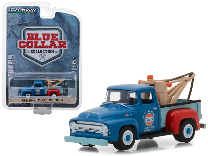 1956 Ford F-100 Tow Truck Mel's Garage Gulf Oil Blue Collar Collection Series 4 1/64 Diecast Model Car Greenlight 35100 A