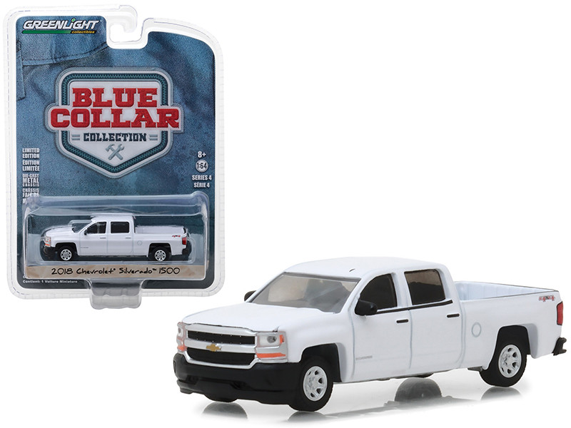 2018 Chevrolet Silverado 1500 Pickup Truck White Blue Collar Collection Series 4 1/64 Diecast Model Car Greenlight 35100 F