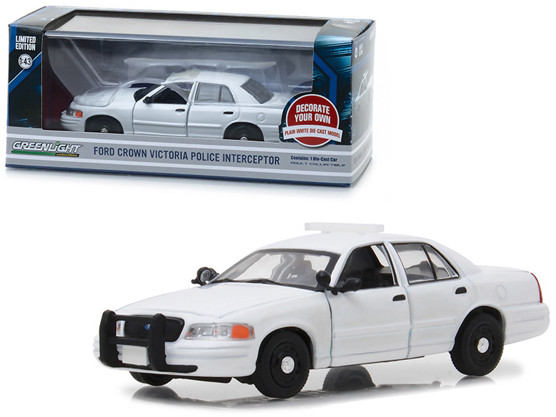Ford Crown Victoria Police Interceptor Plain White 1/43 Diecast Model Car Greenlight 86095