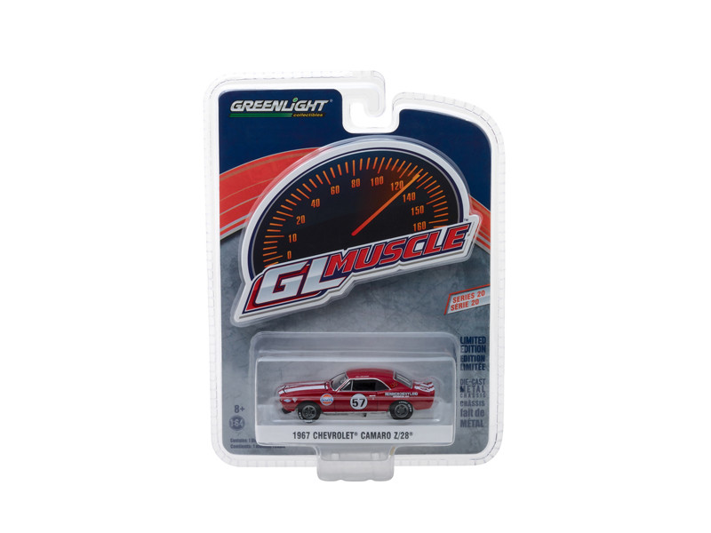1967 Chevrolet Camaro #57 Heinrich Chevy-Land Gulf Red White Stripes Greenlight Muscle Series 20 1/64 Diecast Model Car Greenlight 13210 A