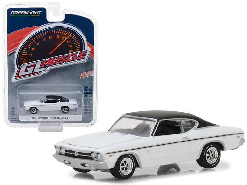 1969 Chevrolet Chevelle SS White Black Top Greenlight Muscle Series 20 1/64 Diecast Model Car Greenlight 13210 B