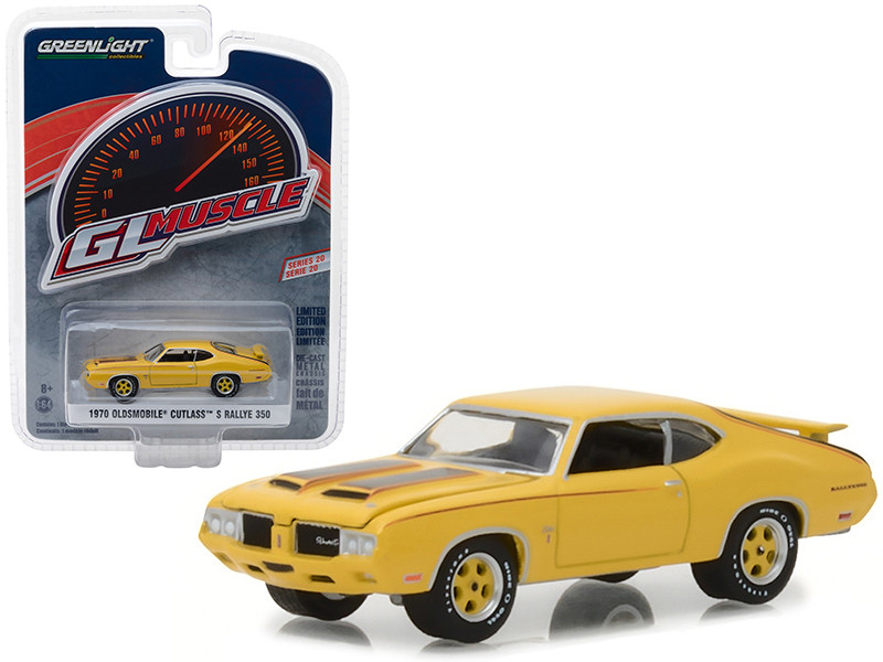 1970 Oldsmobile Cutlass S Rallye 350 Yellow Black Stripes Greenlight Muscle Series 20 1/64 Diecast Model Car Greenlight 13210 C