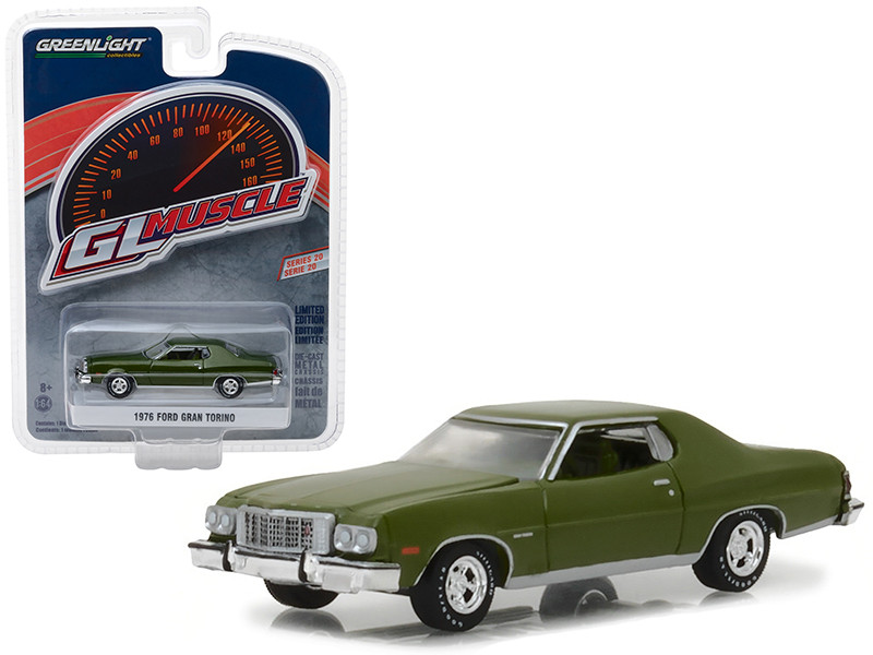 1976 Ford Gran Torino Dark Green Metallic Greenlight Muscle Series 20 1/64 Diecast Model Car Greenlight 13210 D