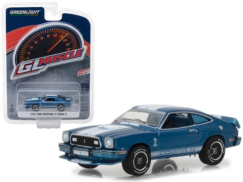 1976 Ford Mustang II Cobra II Blue White Stripes Greenlight Muscle Series 20 1/64 Diecast Model Car Greenlight 13210 E