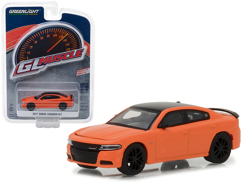 2017 Dodge Charger R/T Orange Black Top Greenlight Muscle Series 20 1/64 Diecast Model Car Greenlight 13210 F