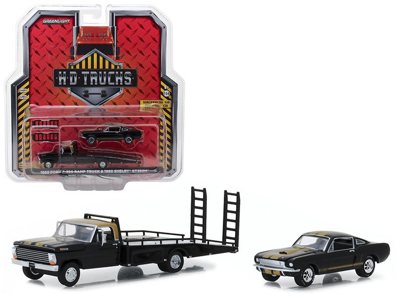 1968 Ford F-350 Ramp Truck 1966 Shelby GT350H Black Gold Stripes HD Trucks Series 13 1/64 Diecast Models Greenlight 33130 A