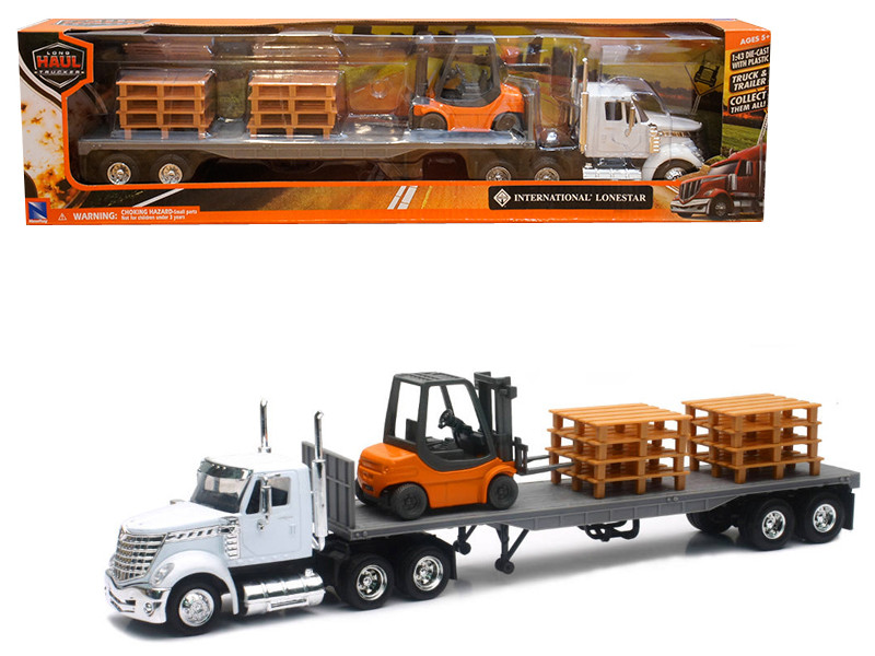 International Lonestar White Flat Bed Hauling Forklift Pallets 1/43 Diecast Model New Ray 16643