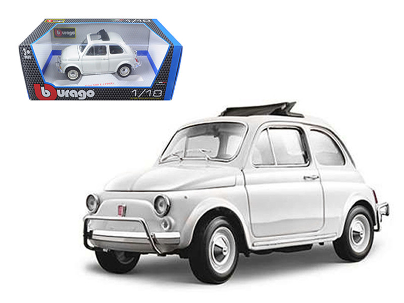 1968 Fiat 500 L White 1/18 Diecast Model Car Bburago 12035