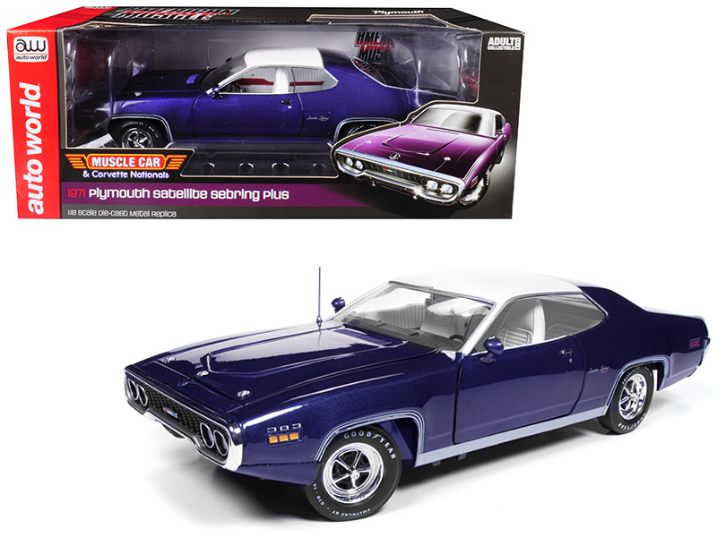 1971 Plymouth Satellite Sebring Plus MCACN Purple White Roof Limited Edition 1002 pieces Worldwide 1/18 Diecast Model Car Autoworld AMM1146