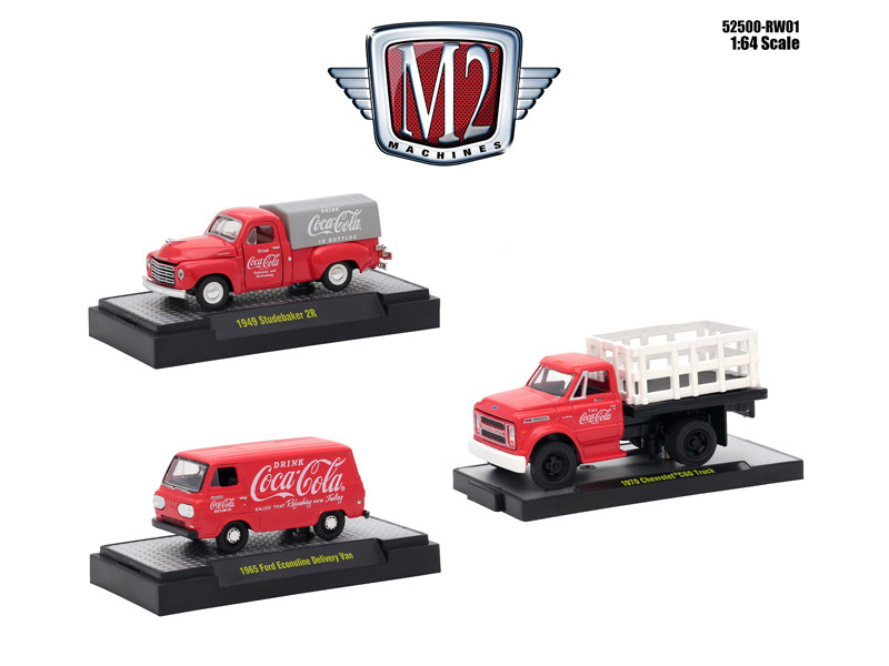 Coca-Cola Release 1 Set 3 Cars Limited Edition 4800 pieces Worldwide Hobby Exclusive 1/64 Diecast Model Cars M2 Machines 52500-RW01