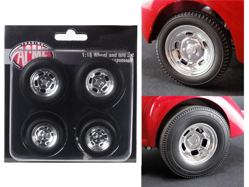 Polished Drag Wheels Tires 4 pcs Set 1941 Gasser 1/18 Acme A1800908W