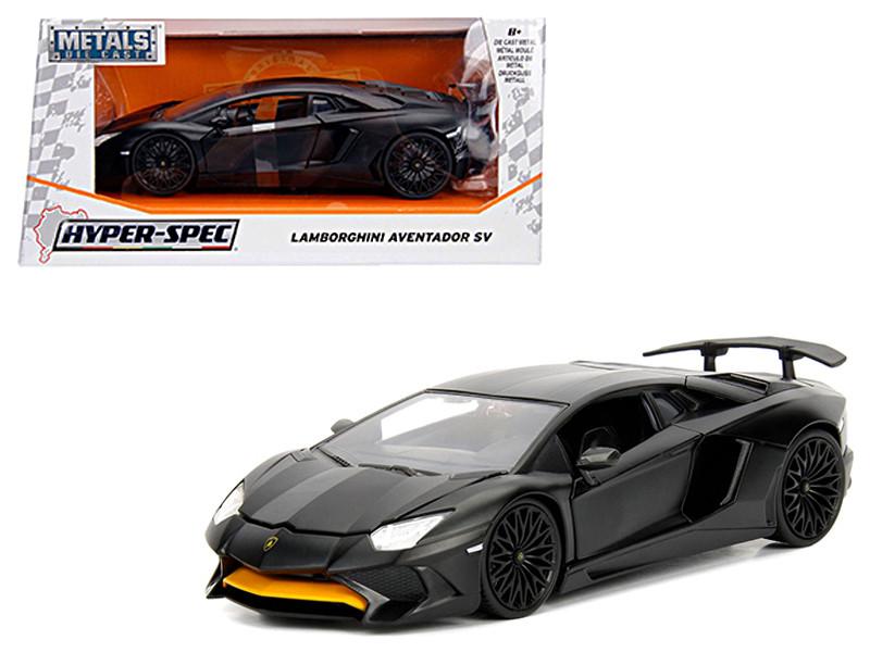 Lamborghini Aventador SV Matte Black 1/24 Diecast Model Car Jada 99324