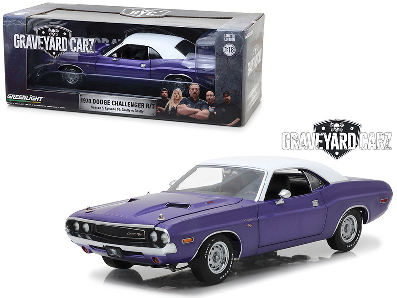 1970 Dodge Challenger R/T Purple White Top Graveyard Carz 2012 TV Series Season 5 Chally vs Chally 1/18 Diecast Model Car Greenlight 13515