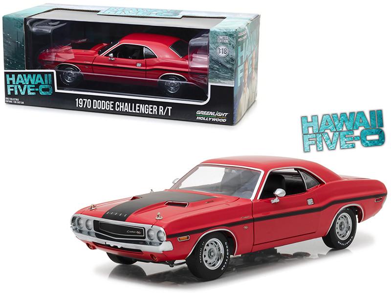 1970 Dodge Challenger R/T Red Black Stripes Hawaii Five-0 2010 TV Series 1/18 Diecast Model Car Greenlight 13516