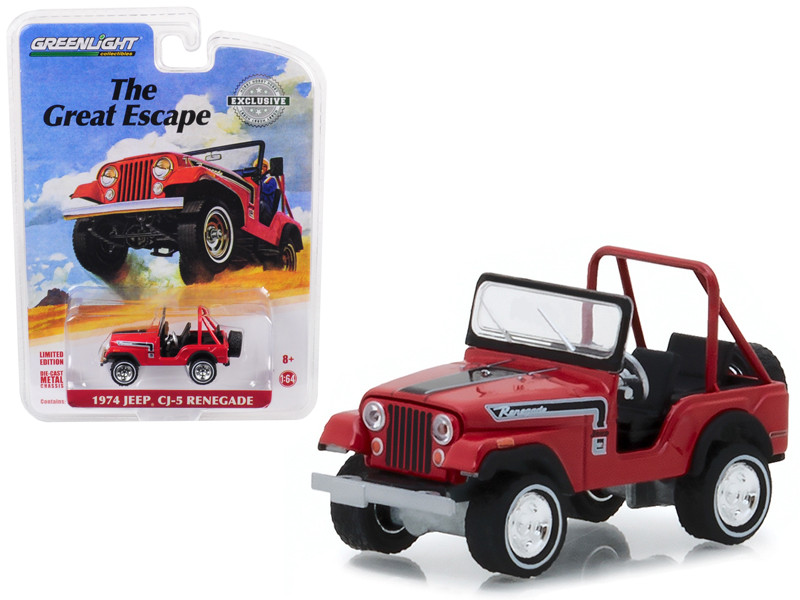 1974 Jeep CJ-5 Renegade Red Black Stripes The Great Escape Advertisement Car Hobby Exclusive 1/64 Diecast Model Car Greenlight 29936