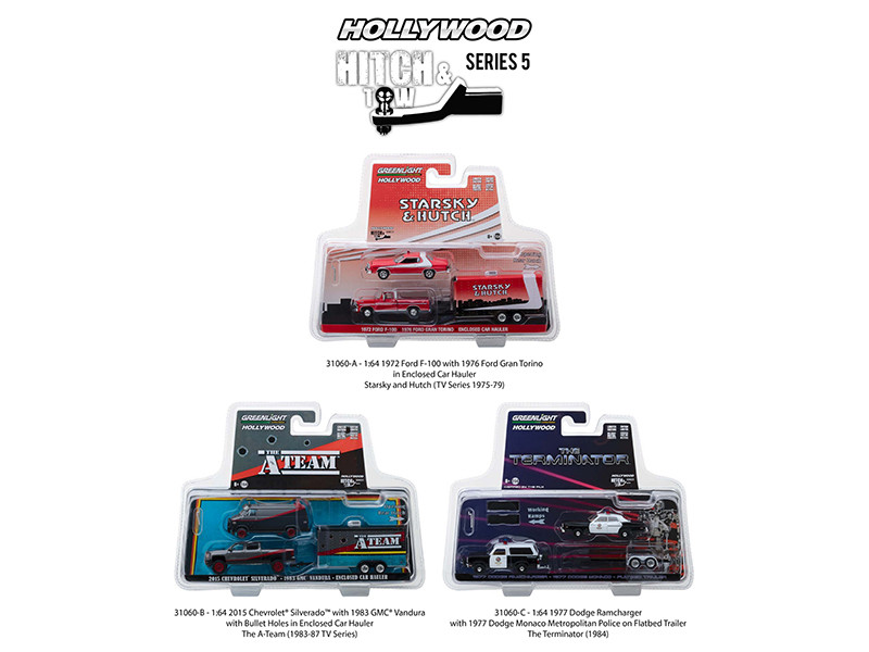 Hollywood Hitch Tow Series 5 Set 3 1/64 Diecast Model Cars Greenlight 31060