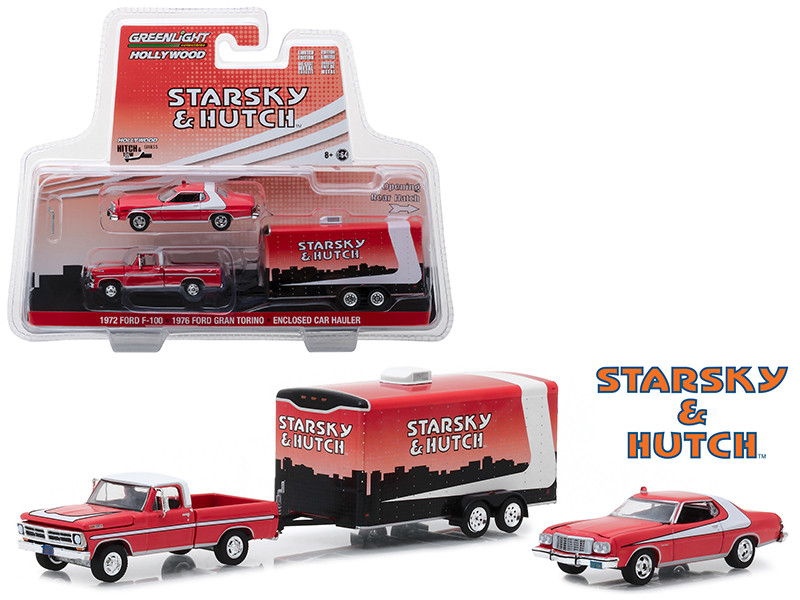 1972 Ford F-100 1976 Ford Gran Torino Enclosed Car Hauler Starsky and Hutch 1975 1979 TV Series Hollywood Hitch Tow Series 5 1/64 Diecast Model Greenlight 31060 A