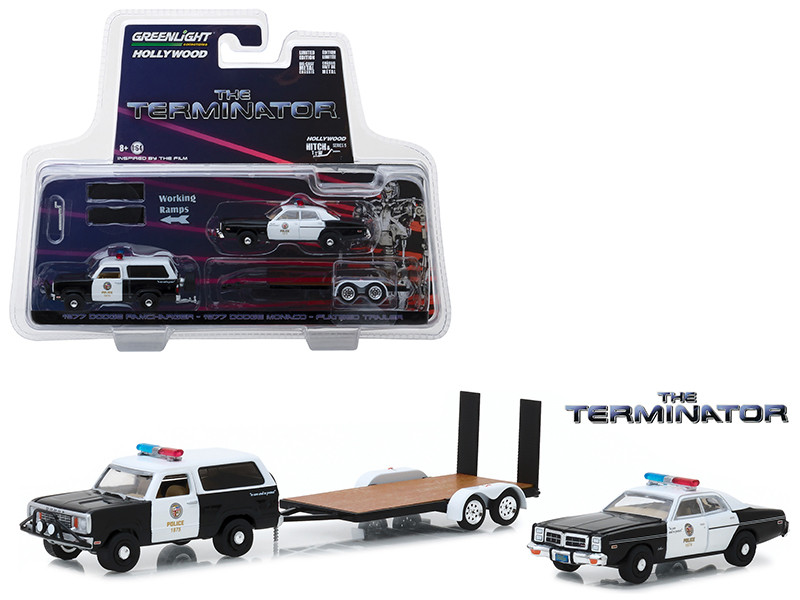 1977 Dodge Ramcharger 1977 Dodge Monaco Metropolitan Police Flatbed Trailer The Terminator 1984 Movie Hollywood Hitch Tow Series 5 1/64 Diecast Models Greenlight 31060 C