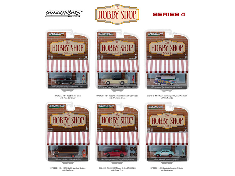 The Hobby Shop Series 4 Set 6 Cars 1/64 Diecast Models Greenlight 97040