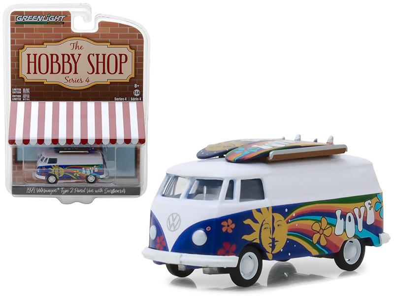 1971 Volkswagen Type 2 Panel Van Surfboards The Hobby Shop Series 4 1/64 Diecast Model Car Greenlight 97040 C
