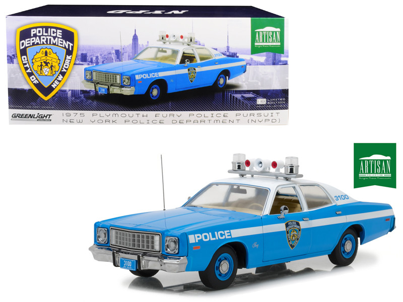 1975 Plymouth Fury New York City Police Department NYPD Blue 1/18 Diecast Model Car Greenlight 19043