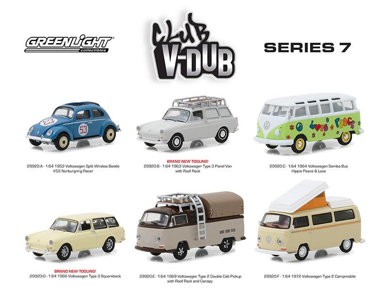 Greenlight Vee Dub Series 7 Set 6 Cars 1/64 Diecast Model Cars Greenlight 29920