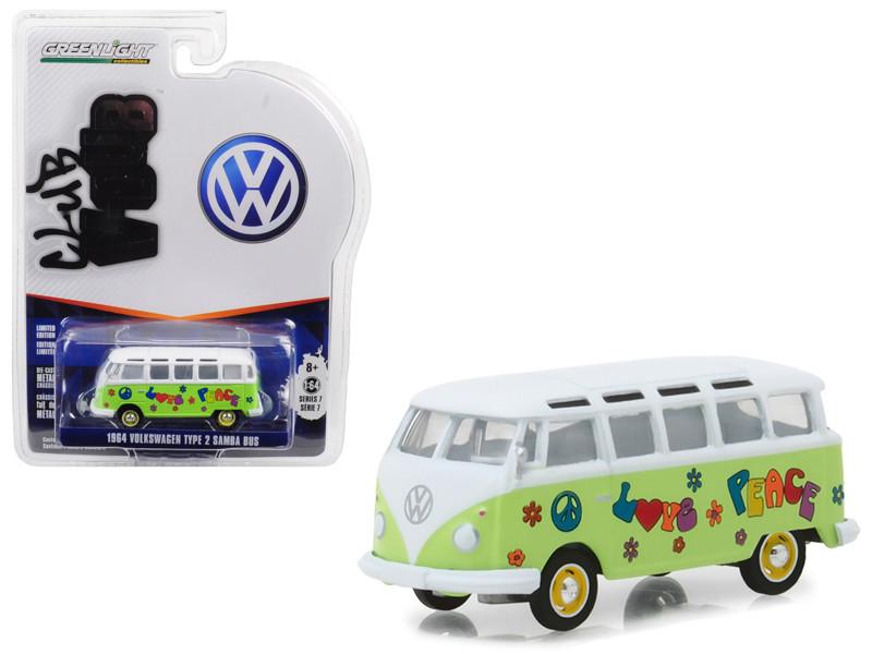 1964 Volkswagen Type 2 Samba Bus Hippie Peace Love Light Green Top Series 7 Club Vee Dub 1/64 Diecast Model Car Greenlight 29920 C