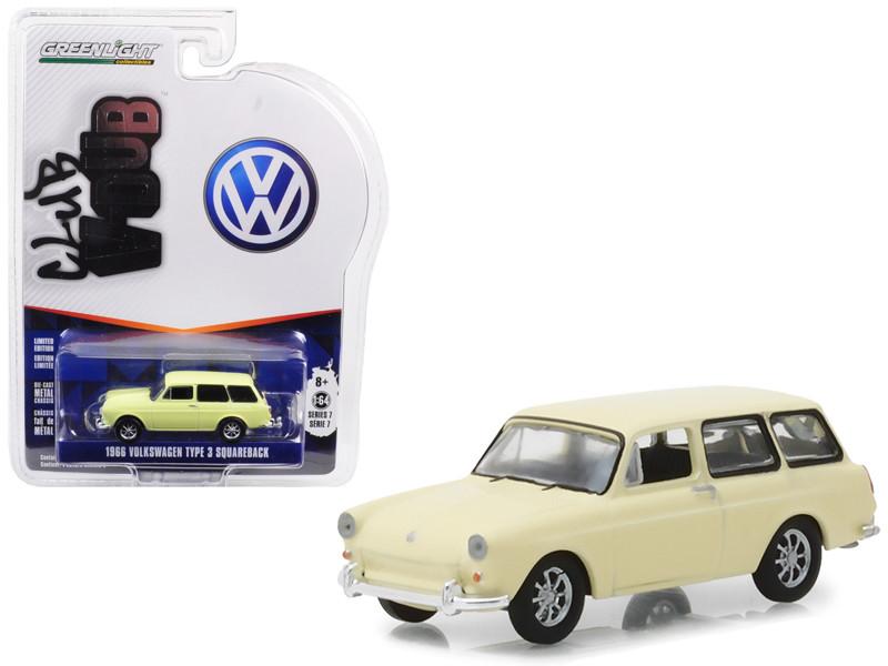 1966 Volkswagen Type 3 Squareback Yellow Series 7 Club Vee Dub 1/64 Diecast Model Car Greenlight 29920 D