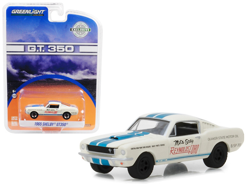 1965 Shelby GT350 White with Blue Stripes Reynolds Ford Super Horse driven Mike Gray Hobby Exclusive 1/64 Diecast Model Car Greenlight 29949
