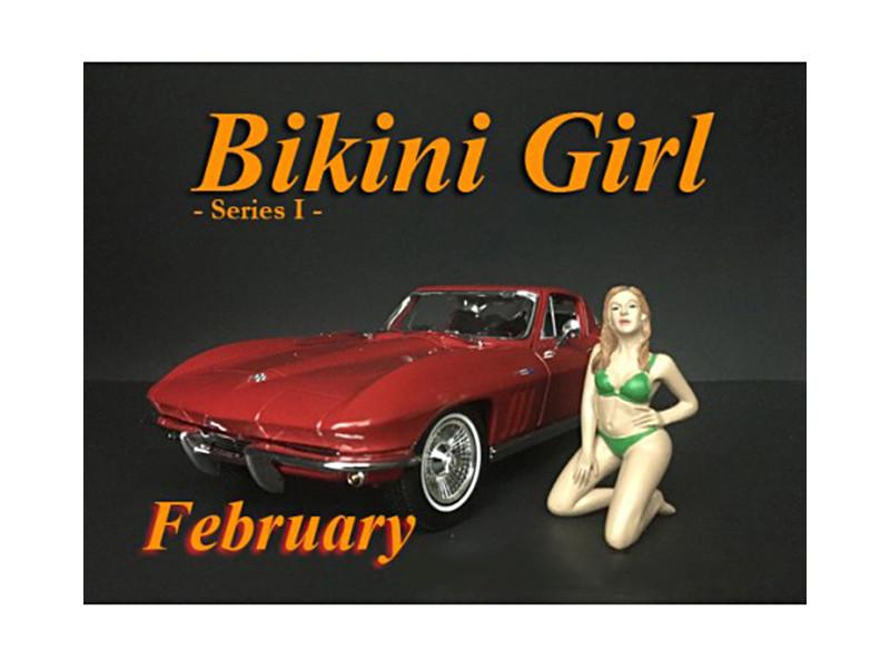 February Bikini Calendar Girl Figure 1/18 Scale Models American Diorama 38166