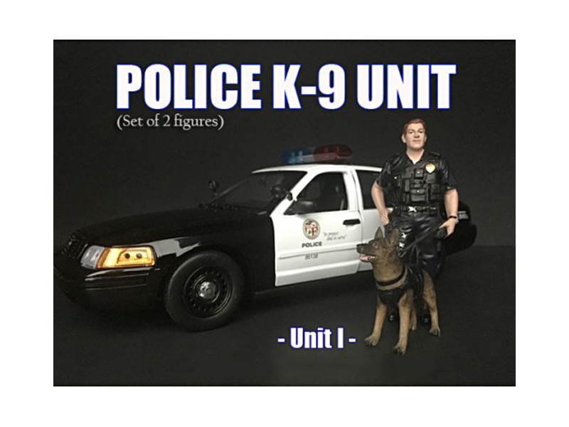 Police Officer Figure K9 Dog Unit I 1/24 Scale Models American Diorama 38263