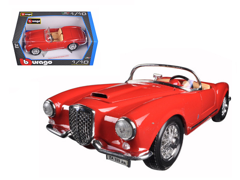 1955 Lancia Aurelia B24 Spyder Red 1/18 Diecast Model Car Bburago 12048