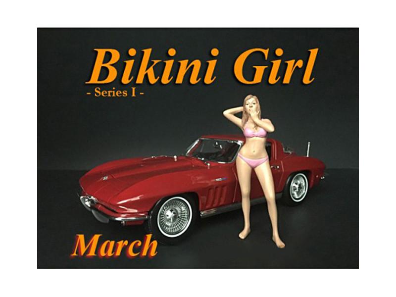 March Bikini Calendar Girl Figure 1/24 Scale Models American Diorama 38267