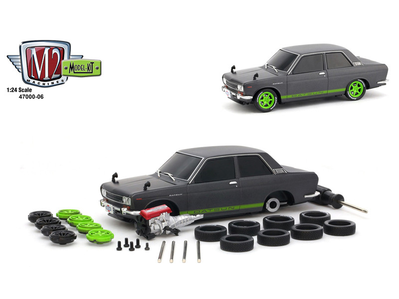 1970 Datsun 510 Gun Metal Gray Green Stripes Black Hood Model Kit Limited Edition 2400 pieces Worldwide 1/24 Diecast Model Car M2 Machines 47000-06