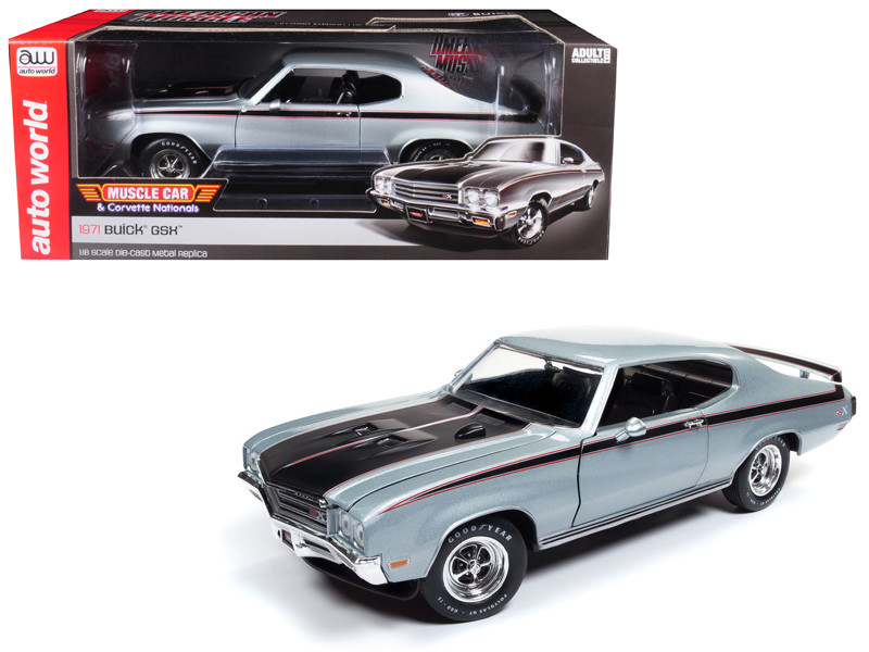 1971 Buick GSX MCACN Platinum Mist Metallic Silver Limited Edition 1002 pieces Worldwide 1/18 Diecast Model Car Autoworld AMM1138
