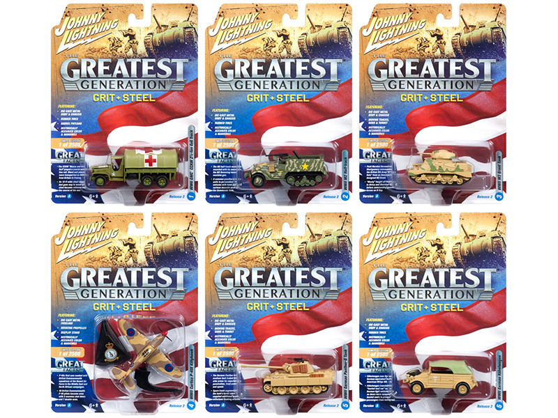 The Greatest Generation Military Release 2 Set A 6 Limited Edition 2500 pieces Worldwide 1/64 1/87 1/100 1/144 Diecast Models Johnny Lightning JLML002 A