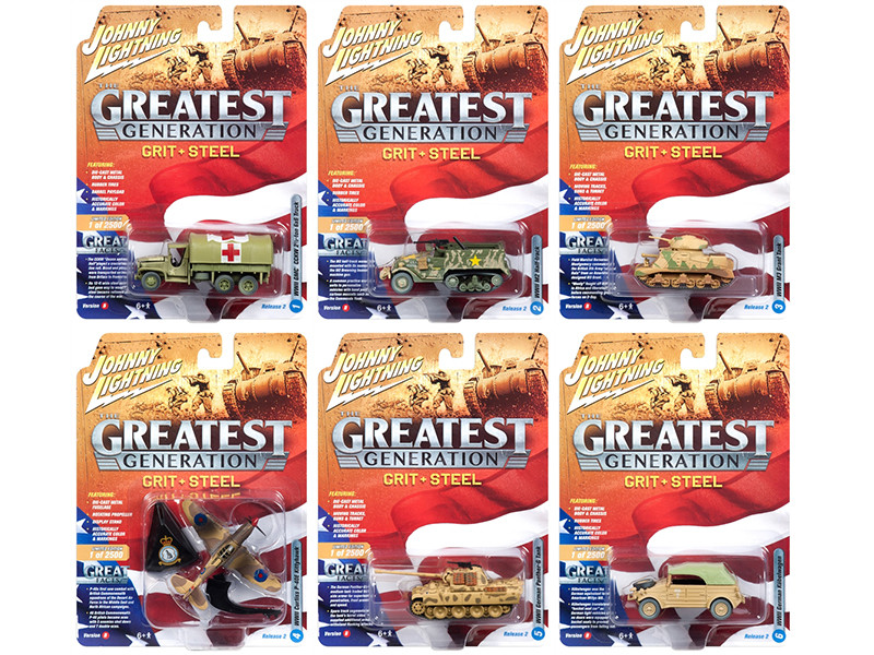 The Greatest Generation Military Release 2 Set B 6 Limited Edition 2500 pieces Worldwide 1/64 1/87 1/100 1/144 Diecast Models Johnny Lightning JLML002 B