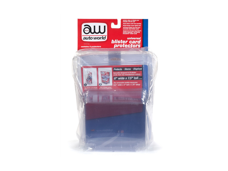 Universal Blister Card Protector 6 Packs 1/64 Scale Models Autoworld AWDC013