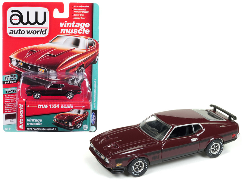 1972 Ford Mustang Mach 1 Maroon Black Stripes Limited Edition 2016 pieces Worldwide 1/64 Diecast Model Car Autoworld AWSP011