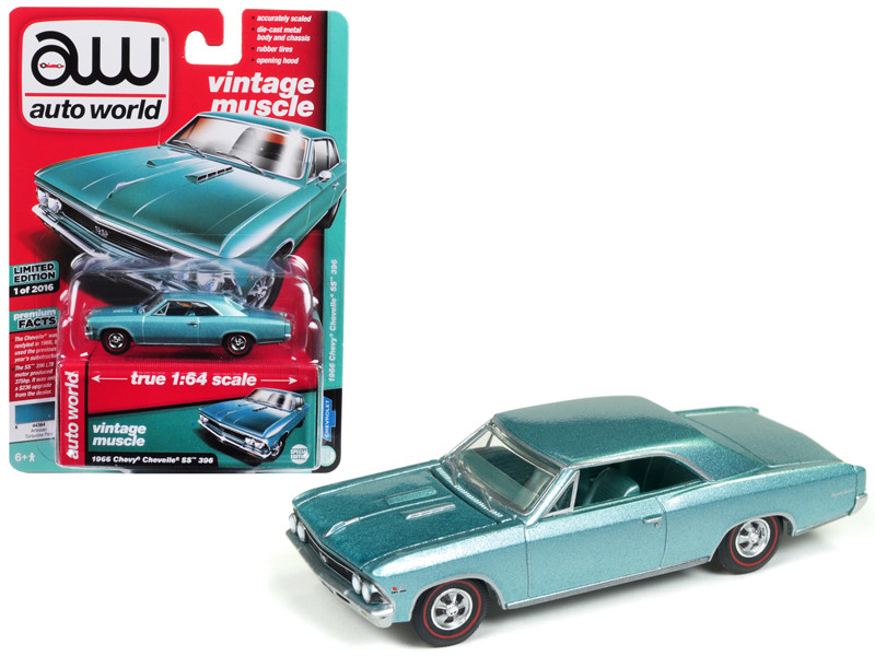 1966 Chevrolet Chevelle SS Artesian Turquoise Limited Edition 2016 pieces Worldwide 1/64 Diecast Model Car Autoworld AWSP012