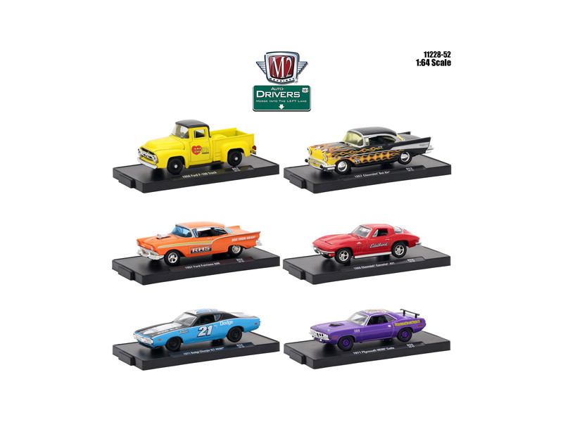 Drivers 6 Cars Set Release 52 Blister Packs 1/64 Diecast Model Cars M2 Machines 11228-52